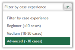 Case interview experience filter