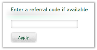 Case interview referral code entry field